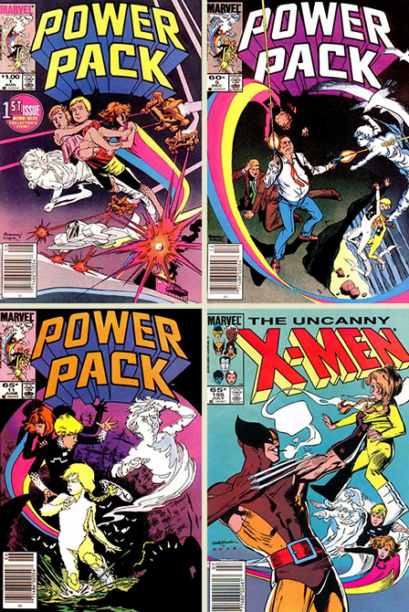 Power Pack 1, 5, and 11 and X-Men 195